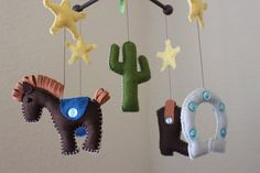 """Baby Crib Mobile - Baby Mobile - Nursery Cowboy Mobile """"Cowboy Western"""" (You can pick your colors) Mobile - Crib Mobile on Etsy, $80.00"""