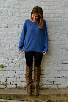 Loving the blue sweater with black polka dots. It's adorable for fall and winter fashion and looks fabulous with these 7 For All Mankind dark wash skinny jeans and stone brown knee high boots – Studio 3:19