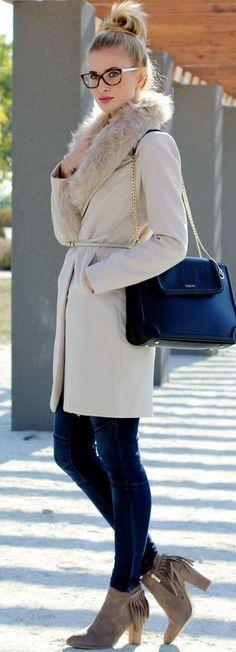 Faux Fur Collar Coat Fall Inspo by Beauty - Fashion - Shopping