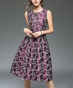 45be5a7f242 Take a look at this Vicky and Lucas Purple Jacquard Fit & Flare Dress today!