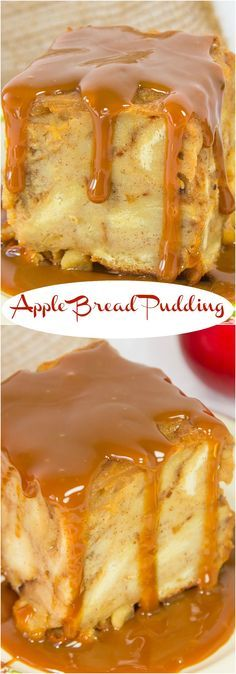 Apple Bread Pudding with Dulce de Leche Sauce Apple Bread Pudding made with delicious caramelized apples is one of my favourite dessert recipes! Apple Desserts, Apple Recipes, Just Desserts, Bread Recipes, Baking Recipes, Sweet Recipes, Delicious Desserts, Brownie Desserts, Easy Recipes