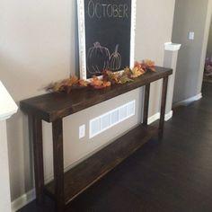 Rustic Console Tables, Entryway Tables, Narrow Entryway, Foyer, Skinny Console Table, Wood Sofa Table, Entryway Decor, Long Sofa, Dark Walnut Stain