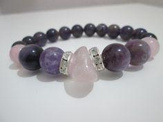 Pulsera de Cuarzo rosa y Amatista,piedras semipreciosas de Lenajoyas en Etsy