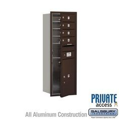 4C Horizontal Mailbox (Includes Master Commercial Locks) - 11 Door High Unit (41 Inches) - Single Column - 4 MB1 Doors / 1 PL5 - Bronze - Front Loading - Private Access by Salsbury Industries. $450.00. 4C Horizontal Mailbox (Includes Master Commercial Locks) - 11 Door High Unit (41 Inches) - Single Column - 4 MB1 Doors / 1 PL5 - Bronze - Front Loading - Private Access - Salsbury Industries - 820996412300