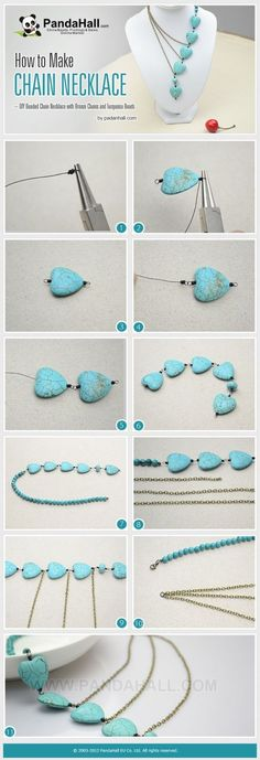 How to Make Chain Necklace http://lc.pandahall.com/articles/1356-how-to-make-chain-necklace-diy-beaded-chain-necklace-with-bronze-chains-and-turquoise-beads.html. - I like this idea of this just not the beads