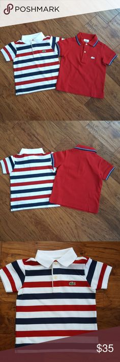 Toddler Lacoste Polo NWT, Can be purchased separately or together. Lightweight polo shirt, pearl buttons, slim fit. Both shirts have imprint from buttons on back of shirt. Price below is for one shirt, if both are desired we will work on a price. If purchasing one shirt, please tag me with the color you want. Lacoste Shirts & Tops Polos