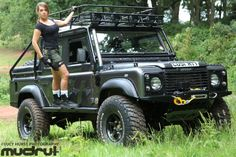 defenderladies:  Land Rover Defender and woman.----- I'm looking at the lines of the truck!!!!!!!!!
