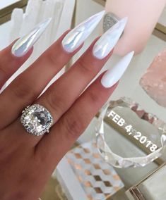 white chrome stiletto nails