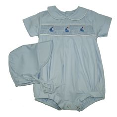 Alfie Blue with Yachts - Hand-smocked top (soft cotton lining to inside of smocking) popper fastening to bottom with button fastening at back. Available in sizes and months. Smocking, Rompers, Children, Button, Outfits, Clothes, Yachts, Baby Boys, Tops