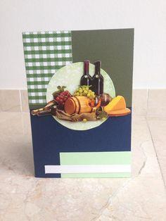 Verjaardagskaart met wijntje! Birthday card with wine theme! DIY