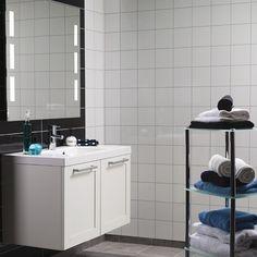 Våtrumsskiva Fibo-Trespo Denver White 3091-F25 HG - Våtrumsskivor Hanging Canvas, Work Surface, Modern Kitchen Design, Double Vanity, Gallery Wall, Layout, Bathroom, Simple, Home