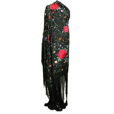 1920's Cantonese Hand-Embroidered Piano Shawl | From a collection of rare vintage coats and outerwear at https://www.1stdibs.com/fashion/clothing/coats-outerwear/
