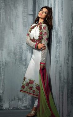 OFF WHITE GEORGETTE EMBROIDRED SALWAR KAMEEZ - SLF 9659