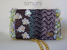 Image of Hand-woven Sparkle night petite purse with daisies and beads