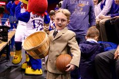 Harrison Leiszler, age Lawrence, KS portrays a young James Naismith during ESPN College GameDay filming at Allen Fieldhouse, Saturday, hours before Kansas beat Kentucky Kansas Basketball, Sports Basketball, James Naismith, Wax Museum, University Of Kansas, Kansas Jayhawks, March Madness, Espn College, Spiderman