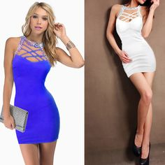 Womens Sexy Backless Slim Bodycon Clubwear Cocktail Evening Party Dress