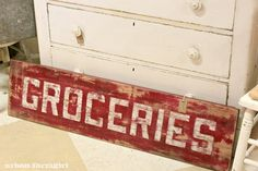From Urban Farm Girl: I'd love this sign in my pantry Farm Signs, Country Signs, Rustic Signs, Country Decor, Wooden Signs, Farmhouse Decor, Farmhouse Style, Stencil Painting, Painting On Wood
