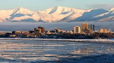 Downtown Anchorage skyline in winter.