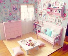 "Living Room Doll Diorama ""Spring Nuances"" Blythe/Pullip/Lati/Pukifee/Yosd/BJD by MoonchildSilverdream on Etsy https://www.etsy.com/listing/190230072/living-room-doll-diorama-spring-nuances"