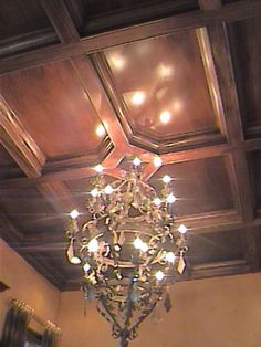 Mahogany Wood Ceiling Paneling by Embellishments Interior Design Beamed Ceilings, Wooden Ceilings, Ceiling Beams, Ceiling Lights, Ceiling Panels, Ceiling Tiles, Light Fixtures, Embellishments, Kitchens