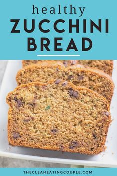 This Healthy Zucchini Bread Recipe is perfect for a simple snack or nutritious breakfast. Gluten free & low sugar, this easy clean eating recipe creates a moist bread, made even better with mini chocolate chips! Easy Clean Eating Recipes, Healthy Gluten Free Recipes, Healthy Breakfast Recipes, Snack Recipes, Clean Eating Breakfast, Nutritious Breakfast, Chocolate Chip Zucchini Bread, Chocolate Chips, Lowest Carb Bread Recipe