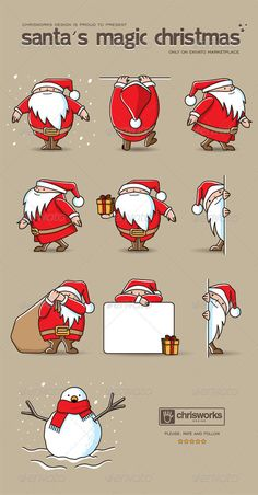 Santa's Magic Christmas #GraphicRiver ITEM DESCRIPTION This package contains hand-drawn genuine vector graphic (SVG) elements which represent a set of poses of a cute and funny Santa Claus. Useful for every purposes (decoration, websites, etc..). Within this package you can find well organized AI, EPS and PSD files as well as PNG file