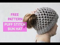Puff stitch bun hat - free crochet pattern Made by Wilma