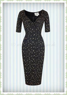 06baed292f Collectif 40er Jahre Pin-Up Atomic Star Etui Kleid - Trixie Pencil - Schwarz
