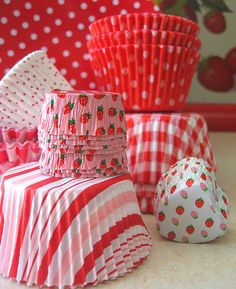 Red White and Pink Cupcake Liners