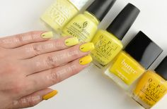 """ZigiZtyle: Yellow ombre 1. Models Own Banana Split, 2. China Glaze Lemon Fizz, 3. OPI I Just Can't Cope-acabana, 4. Butter London Pimms, 5.OPI The """"It"""" Color"""