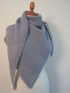 Free knit pattern...This is a triangle (slightly asymmetrical) shawl , knit sideways.