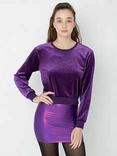 Shiny Velvet Sweater by American Apparel,21$ from 52$ *Soft and stretchy velvet pullover topped with an all-over sparkly motif. • 90% Polyester 10% Spandex Shiny Velvet construction •