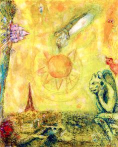 View of Paris Marc Chagall 1978 Private collection Painting - oil on canvas Height: 100.4 cm (39.53 in.), Width: 81.3 cm (32.01 in.)