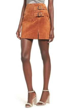 c11a41afb596 Dual buckle accents intensify the vintage allure of this luxe suede  miniskirt. Style Name:Blanknyc Double Buckle Suede Skirt. Style Number:  Available in ...