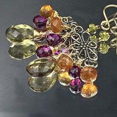 Beautiful fall colors mix together in these mixed metal chandelier earrings.  See them on my Instagram page too!