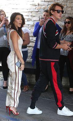 Silky: Kourt wore baggy silk pants with heels while Jonathan sported a red and black sweat. Dream Kardashian, Kardashian Jenner, Kourtney Kardashian, Heels Outfits, Fashion Outfits, Vogue Fashion, Fashion Looks, Street Style, Silk Pants