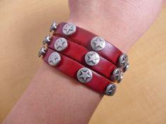 Bangle leather bracelet buckle bracelet men bracelet women bracelet metal bracelet with leather and metal pentagram bracelet SH-0699. $59nok (24), via Etsy.