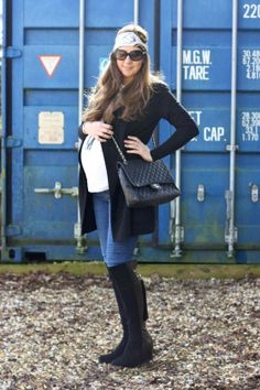 maternity fashion - jeans and over the knee boots, 38 weeks pregnant.