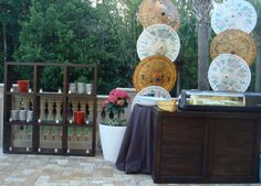 Tonga Wood Bar as a Buffet Station with Classic Brown Wood Back Bar Display