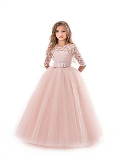 formal dresses Flower Girl Dresses Soft Pink Kids Formal Dress Lace Half Sleeve Bows Tulle A Line Girls Pageant Party Dress Girls Lace Dress, Girls Formal Dresses, Dresses Kids Girl, Girls Party Dress, Flower Girl Dresses, Dress Lace, Dress Party, Dress Formal, Girls Pageant Dresses