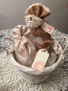 Confezione regalo gustosa - sacchetti in stoffa e iuta porta biscotti e caffè - Home Made by Rossella&Co.