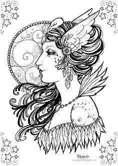 adult colouring page gothic mystic raven crow victorian pin up girl instant