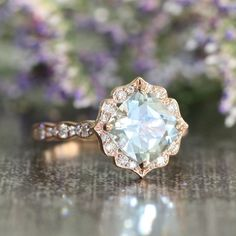 Vintage Inspired Floral Aquamarine Engagement Ring in 14k Rose Gold... ($1,068) ❤ liked on Polyvore featuring jewelry, rings, engagement rings, diamond wedding rings, 14k rose gold ring, cushion cut diamond ring and aquamarine wedding rings
