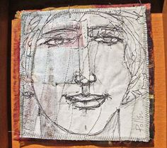 "Jason Pollen, 48 Prophets, 2011  canvas, silk, thread, dye, pigment, graphite,  10.5"" x 10.5"" each piece"