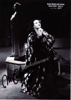 """Star Spanish soprano, renowned for her Bel Canto technique and her interpretations of Rossini, Bellini and Donizetti. Great signed photo showing her on stage in the title role in """"Salome"""", opera by Ri"""