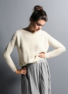 EASY LEVEL <i>(a little bit challenging, after knitting this sweater you'll be prepared for the next level)</i>  Your style and your agenda are so unpredictable… That's why you love basic and versatile garments, wearable for the office or for a brunch