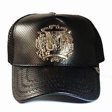 Dominican Republic Trucker Snapback Hat Black Perforated Leather Gold badge  Cap a1be66f5abb0
