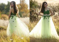 Green tulle fairytale dress by AtelierDeCoutureJK on Etsy, €411.00
