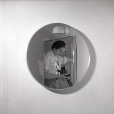Vivian Maier - Self Portrait, no date, (2 round mirror) / Silver Gelatin Print - 12 x 12 on 16 x20 paper