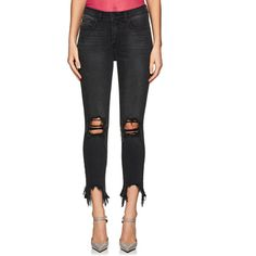L'Agence Women's High Line Distressed Skinny Jeans ($265) ❤ liked on Polyvore featuring jeans, high waisted ripped jeans, denim skinny jeans, ripped denim skinny jeans, slim skinny jeans and high waisted ripped skinny jeans